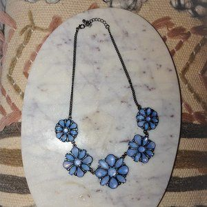 Blue Chunky Flower Necklace